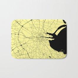 Yellow on Black Dublin Street Map Bath Mat