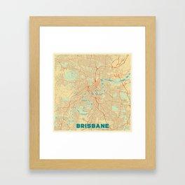 Brisbane Map Retro Framed Art Print