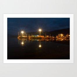 Ullapool harbour by night, Scotland Art Print