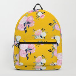 Spring Florals on Mustard Yellow Backpack