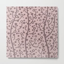 Mid Century Modern Spring Blossoms Dusty Rose 2 Metal Print
