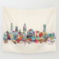 montreal Wall Tapestries featuring Montreal Quebec skyline by bri.buckley