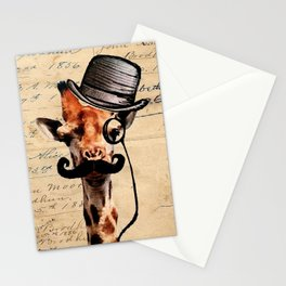 Giraffe Mustache Monocle Tophat Dandy Stationery Cards