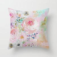 craftberrybush Throw Pillows featuring Acrylic rose garden  by craftberrybush