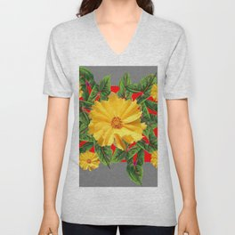GREY & RED YELLOW COREOPSIS FLORAL ART DESIGN Unisex V-Neck