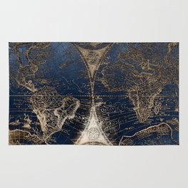 World Map Deep Blue and Gold Rug