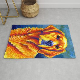 Faithful Friend - Colorful Golden Retriever Rug