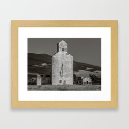 Grain Elevator, Buffalo Montana B&W Framed Art Print