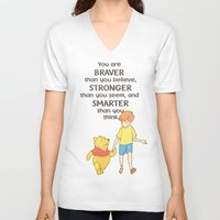 winnie the pooh V-neck T-shirts featuring WINNIE THE POOH by DisPrints