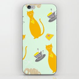 Cool Cats Coffee and Chessse party Artwork iPhone Skin