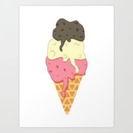 Strawberry-Vanilla-Chocolate Ice Cream Sundae Art Print