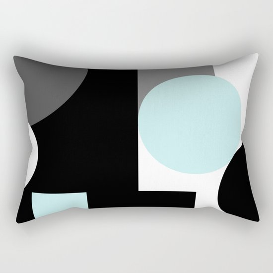 An abstract geometric pattern . Geometric shapes . Black sky blue white pattern . Rectangular Pillow