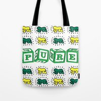 keith haring Tote Bags featuring PURE (Keith Haring Tribute) by Kerosene Bill