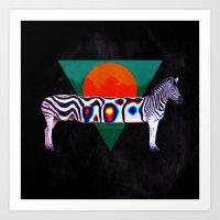 zebra Art Prints featuring Zebra by Ali GULEC