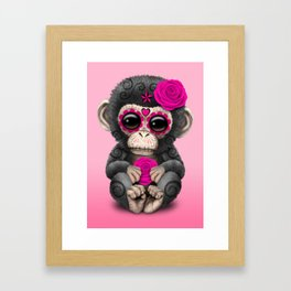 Pink Day of the Dead Sugar Skull Baby Chimp Framed Art Print