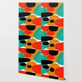 Mid Century Modern Abstract Minimalist Retro Vintage Style Rolie Polie Olie Bubbles Teal Orange Wallpaper