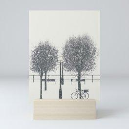 A Bike in Winter Mini Art Print