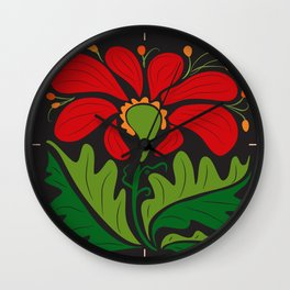 Big Red Dahlia (abstract hand-drawn flower) Wall Clock