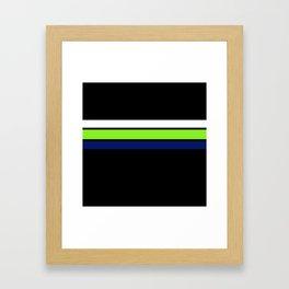 Team colors....Neon green .navy and white on black Framed Art Print