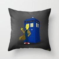 lemongrab Throw Pillows featuring Doctor Lemongrab  by MUSENYO