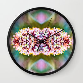 Beautiful Skimmia Japonica Rubella flowers macro surreal shaped symmetrical kaleidoscope Wall Clock