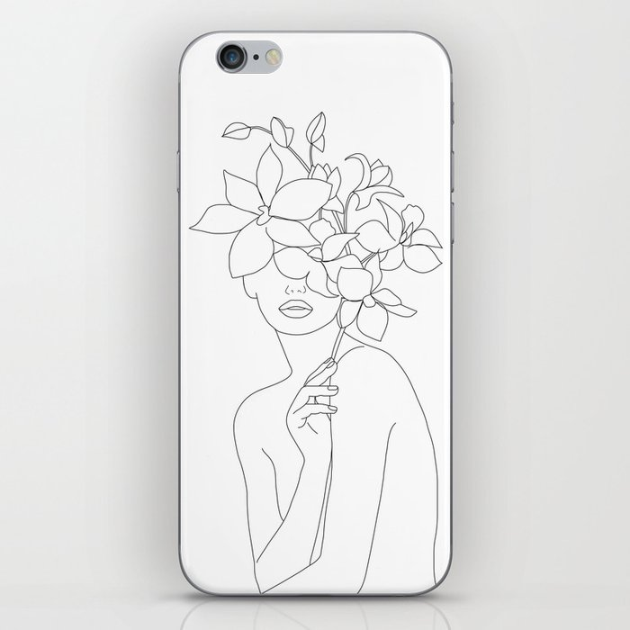 Minimal Line Art Woman with Orchids iPhone Skin
