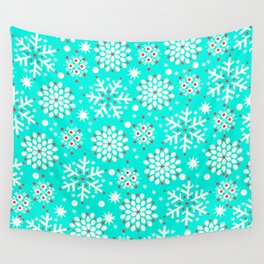 Retro Winter Collection Snowflake Teal Wall Tapestry