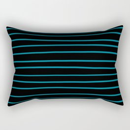 Pantone Barrier Reef 17-4530 Hand Drawn Horizontal Lines on Black Rectangular Pillow