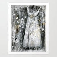 dress Art Prints featuring dress by woman