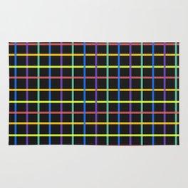Black Rainbow Check Pattern Rug