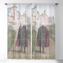 Sir Samuel Samoyed at the Resort Sheer Curtain