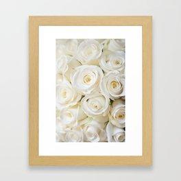 Elegant White Roses Framed Art Print
