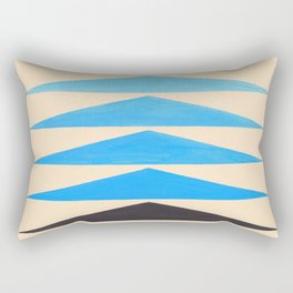 Baby Blue Geometric Triangle Pattern With Black Accent Rectangular Pillow