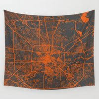 houston Wall Tapestries featuring Houston map by Map Map Maps