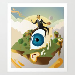 great surrealism painter on big floating eye in island with clocks Art Print