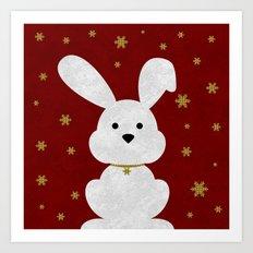 Christmas Bunny Red Marble Art Print