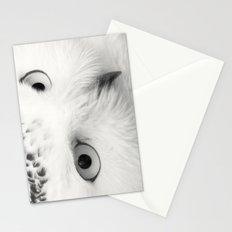 owl chouette bird white Stationery Cards