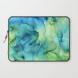 Blue Green Spring Marble Abstract Ink Painting Laptop Sleeve