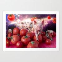 pigs Art Prints featuring Pigs by Devnenski