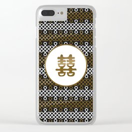 Double Happiness Symbol on Endless Knot pattern Clear iPhone Case