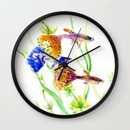 Guppy Fish colorful fish artwork, blue orange Wall Clock