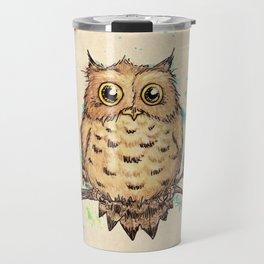 """Hoo, Me?"" Baby Owl Watercolor & Ink Illustration by Amber Marine (Copyright 2019) Travel Mug"