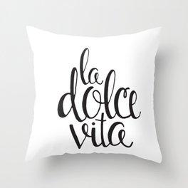 La Dolce Vita - Black and White Design Throw Pillow