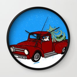 Pit Bull In Old Red Truck With Whimsical Christmas Tree Wall Clock