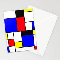 Red Blue Yellow Geometric Squares Stationery Cards