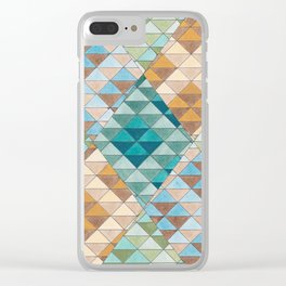 Triangle Patter No.15 Shifting Teal and Yellow Clear iPhone Case