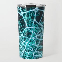 Amiens, France, Blue, White, Neon, Glow, City, Map Travel Mug