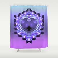shield Shower Curtains featuring Purple Shield by Awesome Palette