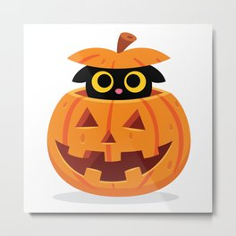 Cute Kitty Hidden Inside a Pumpkin Metal Print