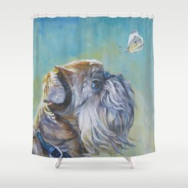 Brussels Griffon dog portrait from an original painting by L.A.Shepard Shower Curtain
